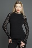 KK646 Black Top with Lacy Sleeves